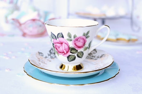 Pink roses mismatched vintage tea set