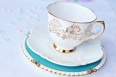 Turquoise gold white vintage tea set