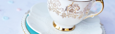 Mismatched vintage china tea set